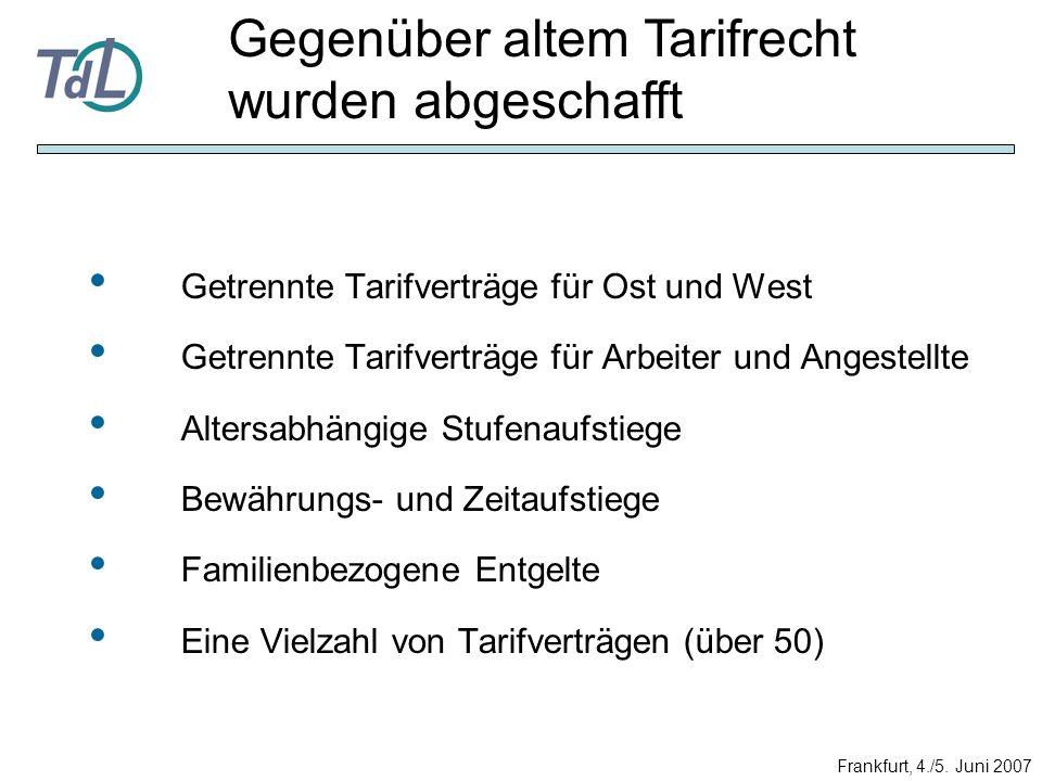 Getrennte Tarifverträge für Ost und West Getrennte Tarifverträge für Arbeiter und Angestellte Altersabhängige Stufenaufstiege Bewährungs- und Zeitaufs