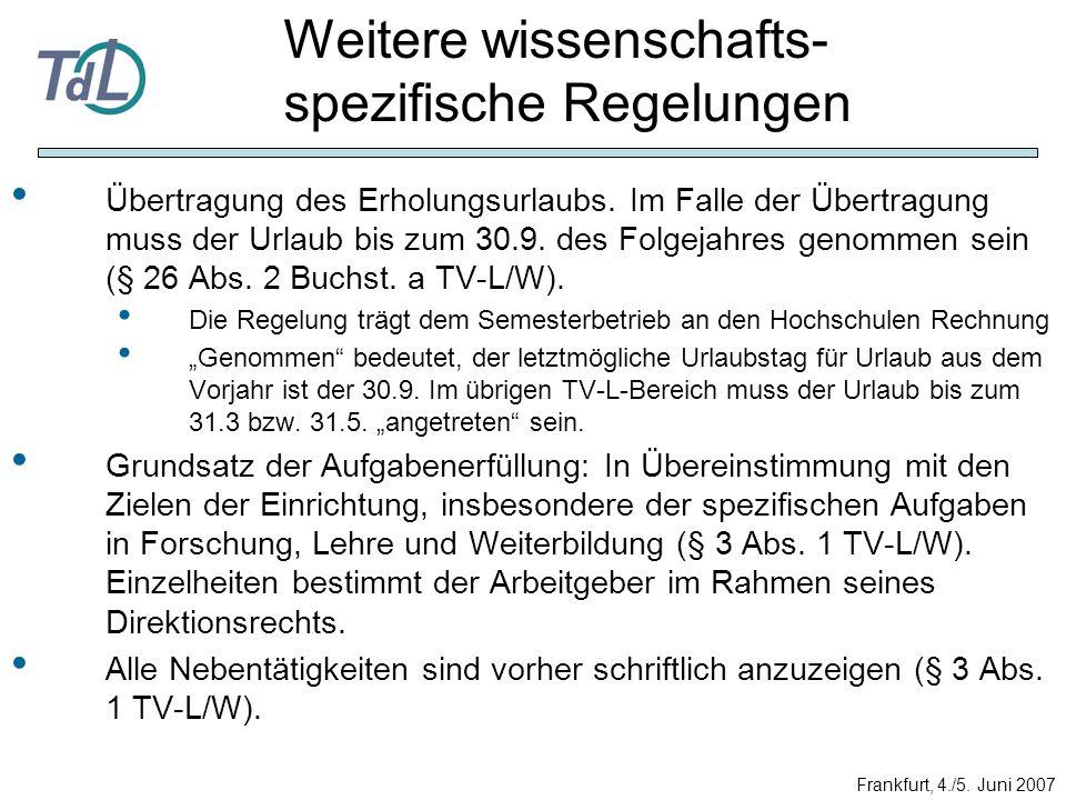 Übertragung des Erholungsurlaubs. Im Falle der Übertragung muss der Urlaub bis zum 30.9. des Folgejahres genommen sein (§ 26 Abs. 2 Buchst. a TV-L/W).