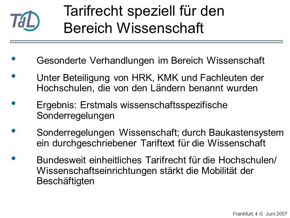 Gesonderte Verhandlungen im Bereich Wissenschaft Unter Beteiligung von HRK, KMK und Fachleuten der Hochschulen, die von den Ländern benannt wurden Erg