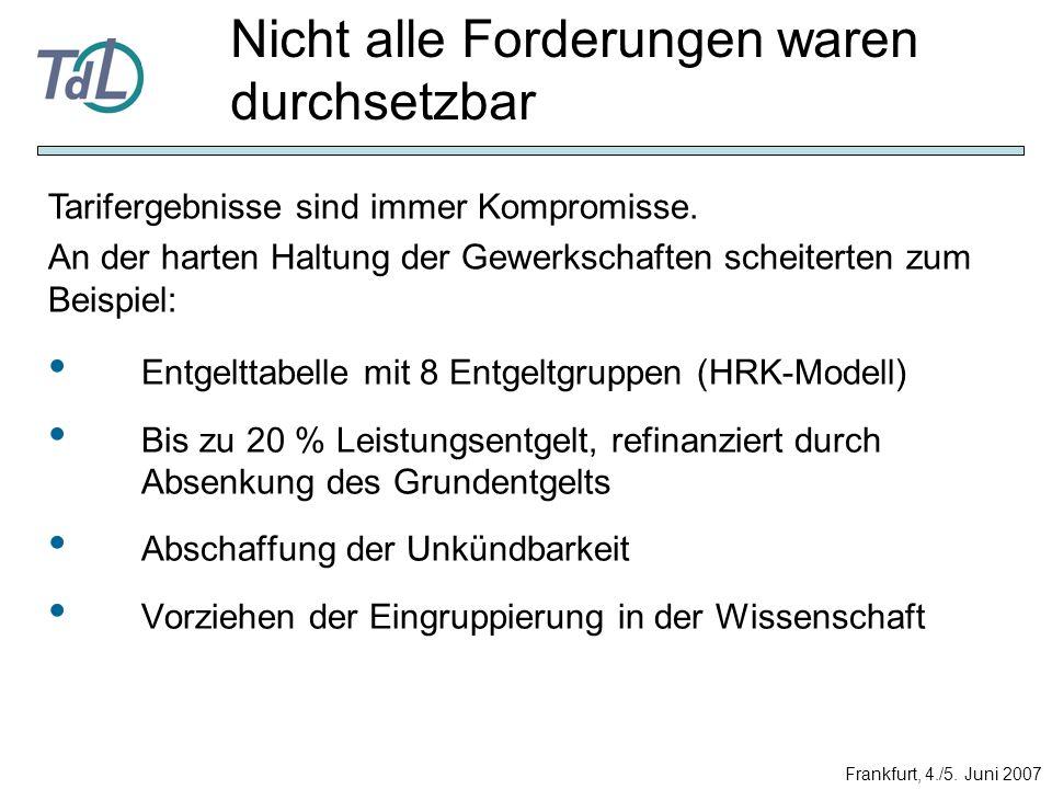Entgelttabelle mit 8 Entgeltgruppen (HRK-Modell) Bis zu 20 % Leistungsentgelt, refinanziert durch Absenkung des Grundentgelts Abschaffung der Unkündba