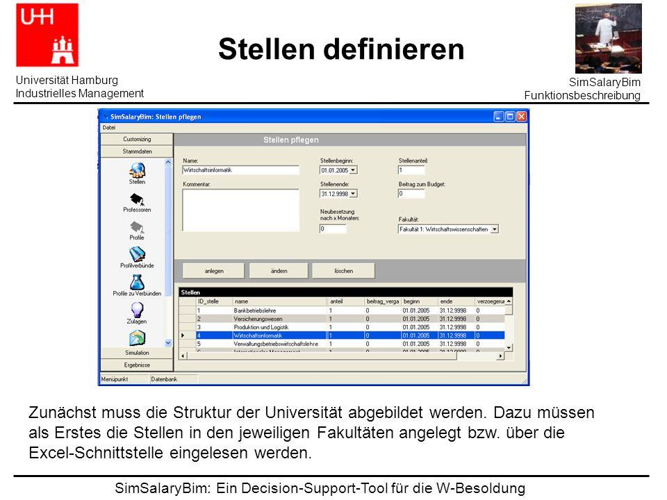 SimSalaryBim: Ein Decision-Support-Tool für die W-Besoldung Universität Hamburg Industrielles Management SimSalaryBim Funktionsbeschreibung Stellen definieren Zunächst muss die Struktur der Universität abgebildet werden.
