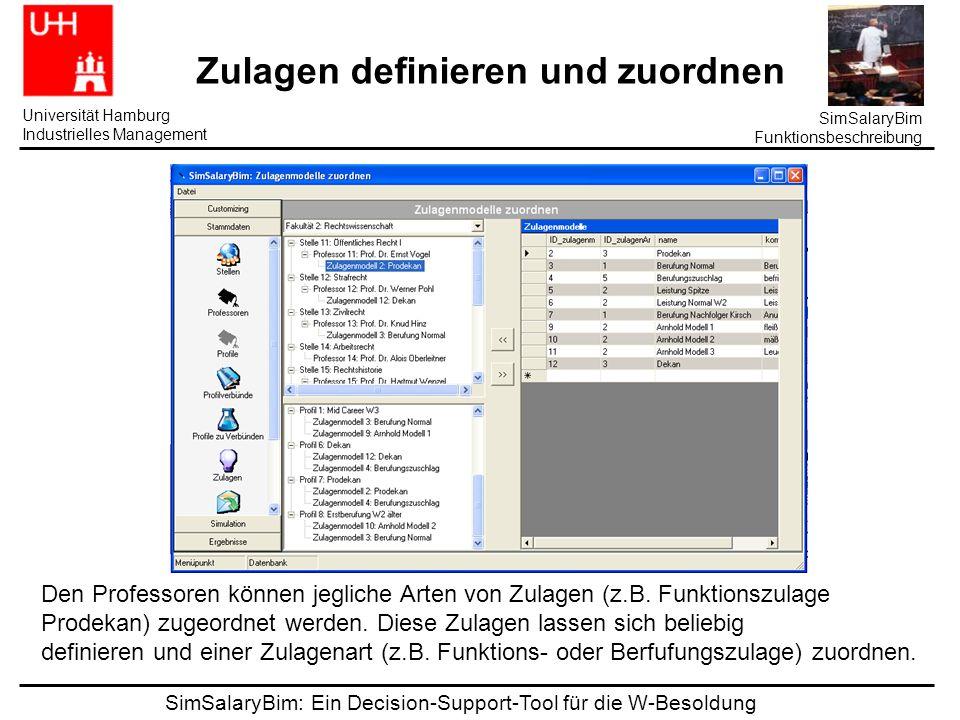 SimSalaryBim: Ein Decision-Support-Tool für die W-Besoldung Universität Hamburg Industrielles Management SimSalaryBim Funktionsbeschreibung Zulagen definieren und zuordnen Den Professoren können jegliche Arten von Zulagen (z.B.