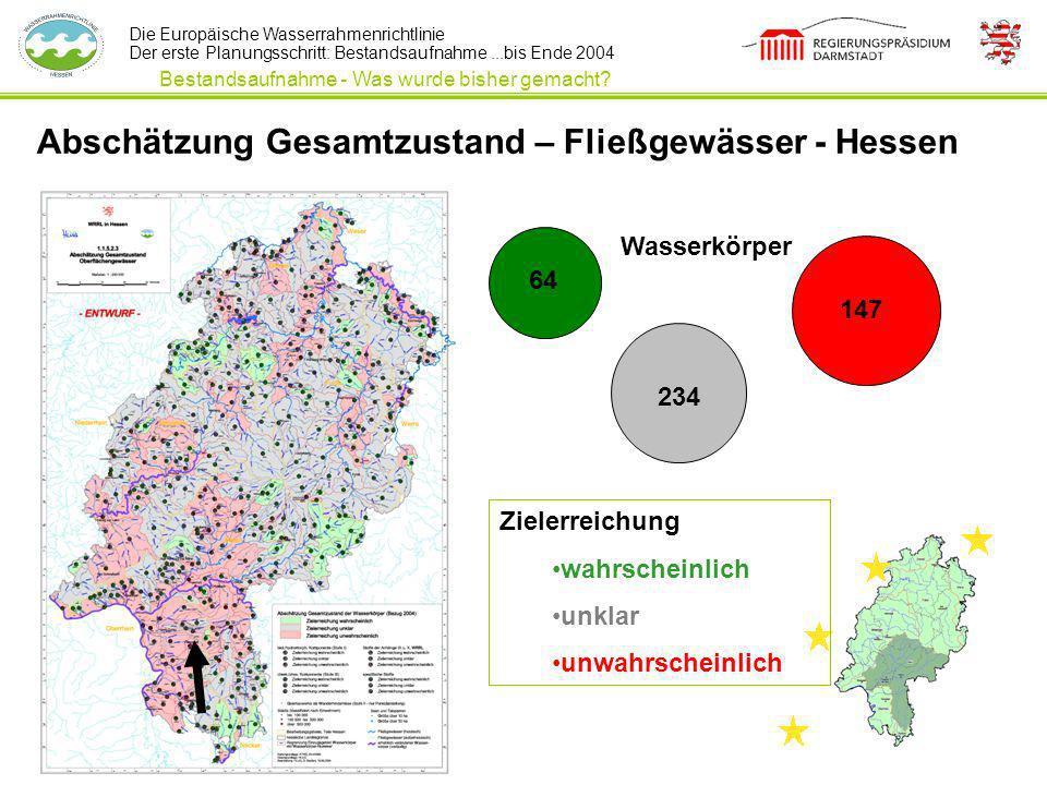 Die Europäische Wasserrahmenrichtlinie Der erste Planungsschritt: Bestandsaufnahme...bis Ende 2004 Abschätzung Gesamtzustand – Fließgewässer - Hessen