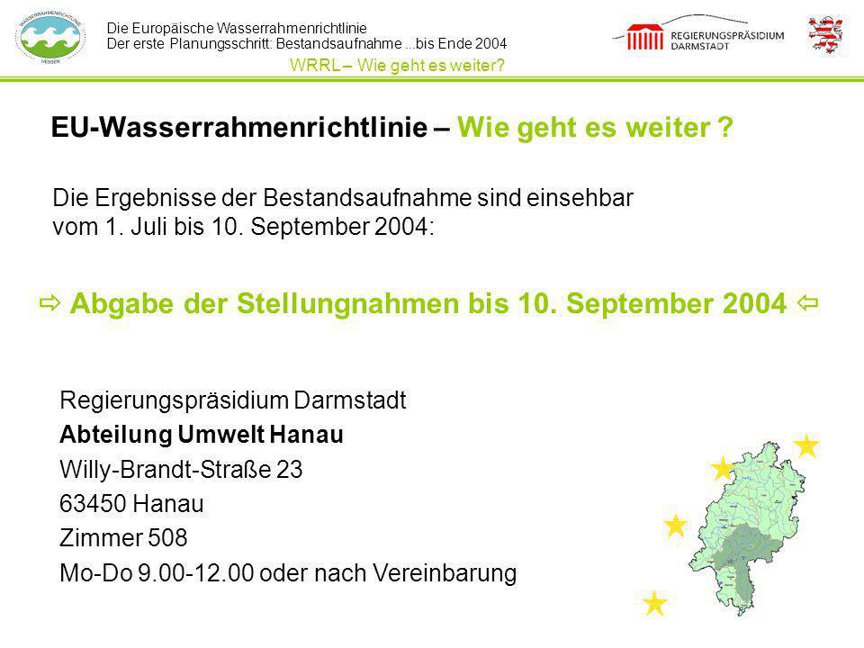 Die Europäische Wasserrahmenrichtlinie Der erste Planungsschritt: Bestandsaufnahme...bis Ende 2004 EU-Wasserrahmenrichtlinie – Wie geht es weiter ? Di