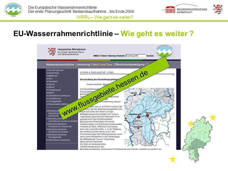 Die Europäische Wasserrahmenrichtlinie Der erste Planungsschritt: Bestandsaufnahme...bis Ende 2004 EU-Wasserrahmenrichtlinie – Wie geht es weiter ? WR