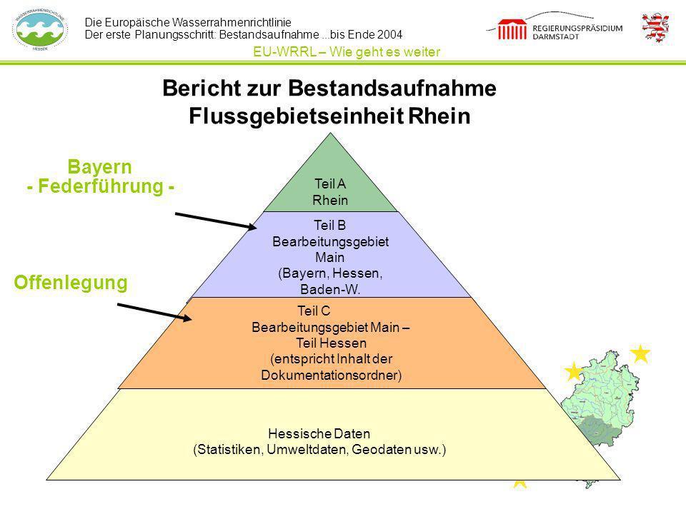 Die Europäische Wasserrahmenrichtlinie Der erste Planungsschritt: Bestandsaufnahme...bis Ende 2004 Bericht zur Bestandsaufnahme Flussgebietseinheit Rh