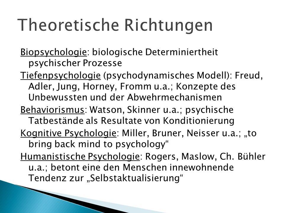 Biopsychologie: biologische Determiniertheit psychischer Prozesse Tiefenpsychologie (psychodynamisches Modell): Freud, Adler, Jung, Horney, Fromm u.a.