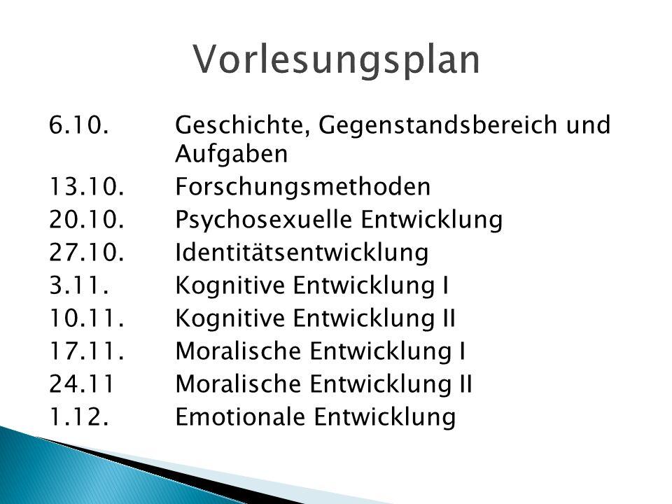 6.10.Geschichte, Gegenstandsbereich und Aufgaben 13.10.Forschungsmethoden 20.10.Psychosexuelle Entwicklung 27.10.Identitätsentwicklung 3.11.Kognitive