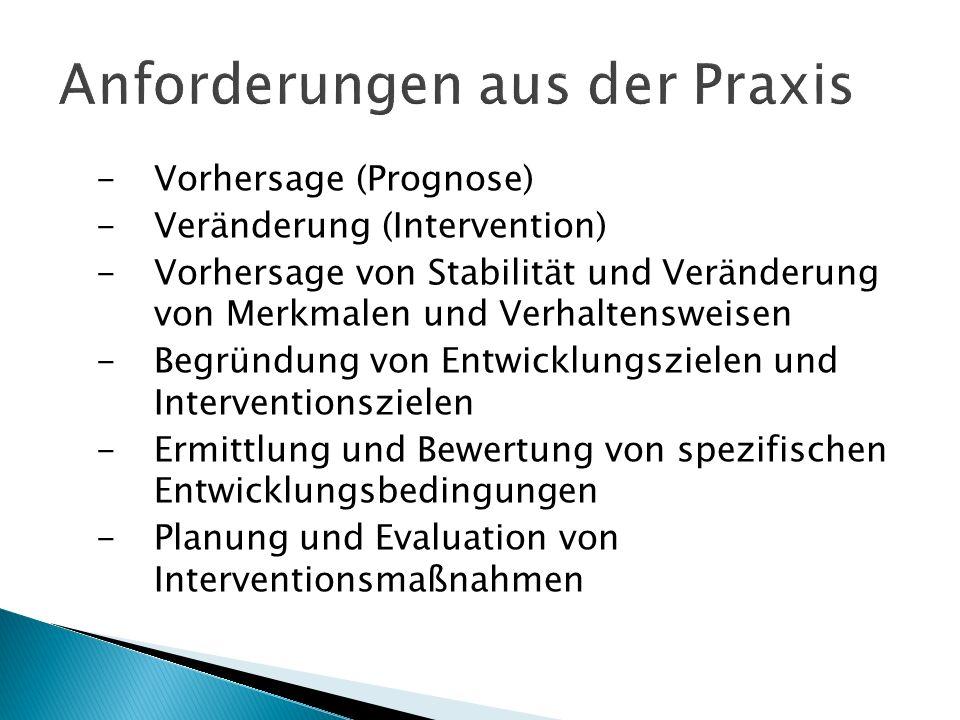 -Vorhersage (Prognose) -Veränderung (Intervention) -Vorhersage von Stabilität und Veränderung von Merkmalen und Verhaltensweisen -Begründung von Entwi