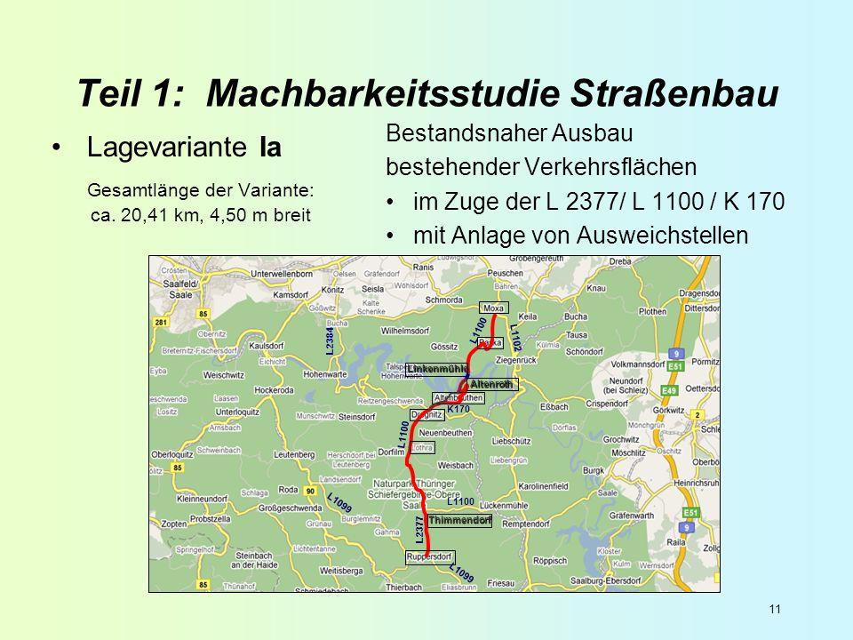 11 Teil 1: Machbarkeitsstudie Straßenbau Lagevariante Ia Gesamtlänge der Variante: ca. 20,41 km, 4,50 m breit Bestandsnaher Ausbau bestehender Verkehr