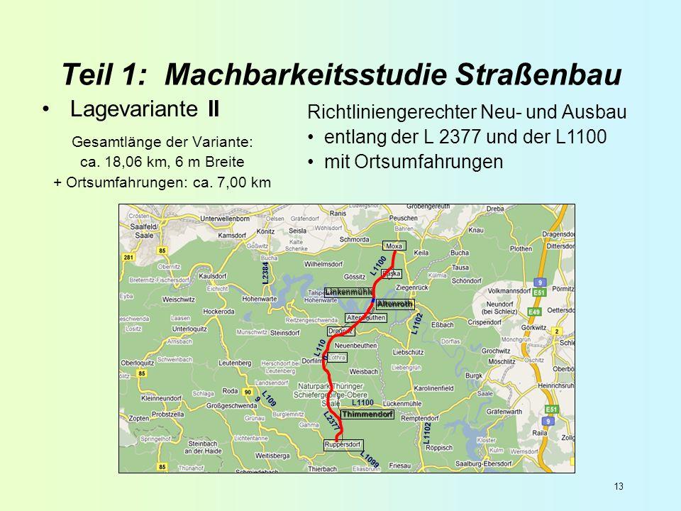 13 Teil 1: Machbarkeitsstudie Straßenbau Lagevariante II Gesamtlänge der Variante: ca. 18,06 km, 6 m Breite + Ortsumfahrungen: ca. 7,00 km Altenroth L