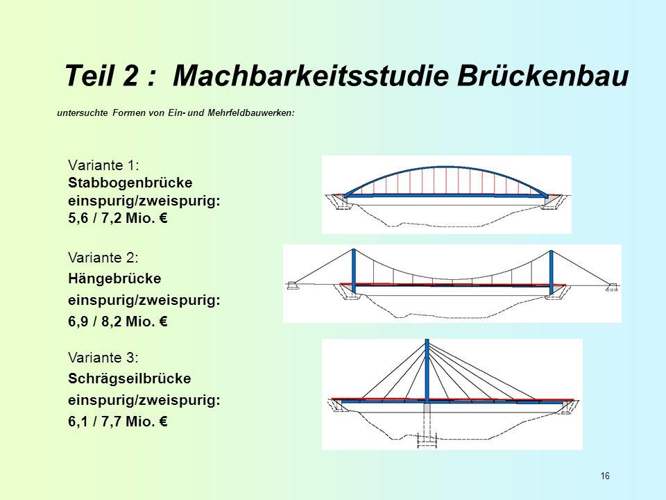 16 Teil 2 : Machbarkeitsstudie Brückenbau untersuchte Formen von Ein- und Mehrfeldbauwerken: Variante 1: Stabbogenbrücke einspurig/zweispurig: 5,6 / 7
