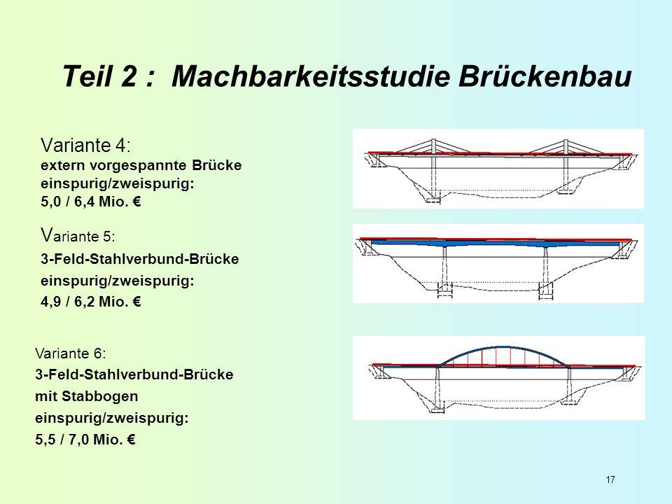 17 Teil 2 : Machbarkeitsstudie Brückenbau Variante 4: extern vorgespannte Brücke einspurig/zweispurig: 5,0 / 6,4 Mio. V ariante 5: 3-Feld-Stahlverbund