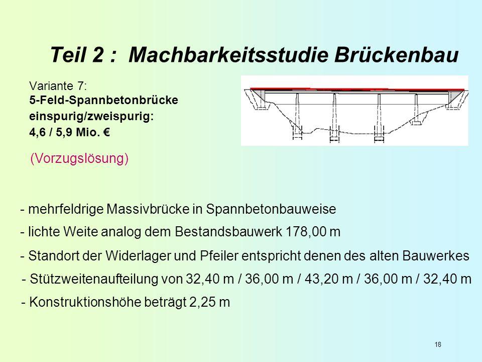 18 Teil 2 : Machbarkeitsstudie Brückenbau Variante 7: 5-Feld-Spannbetonbrücke einspurig/zweispurig: 4,6 / 5,9 Mio. - mehrfeldrige Massivbrücke in Span