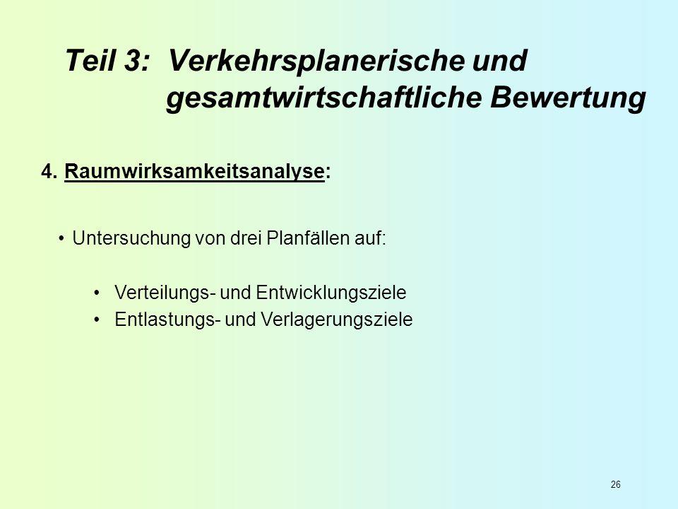 26 4. Raumwirksamkeitsanalyse: Untersuchung von drei Planfällen auf: Verteilungs- und Entwicklungsziele Entlastungs- und Verlagerungsziele Teil 3: Ver