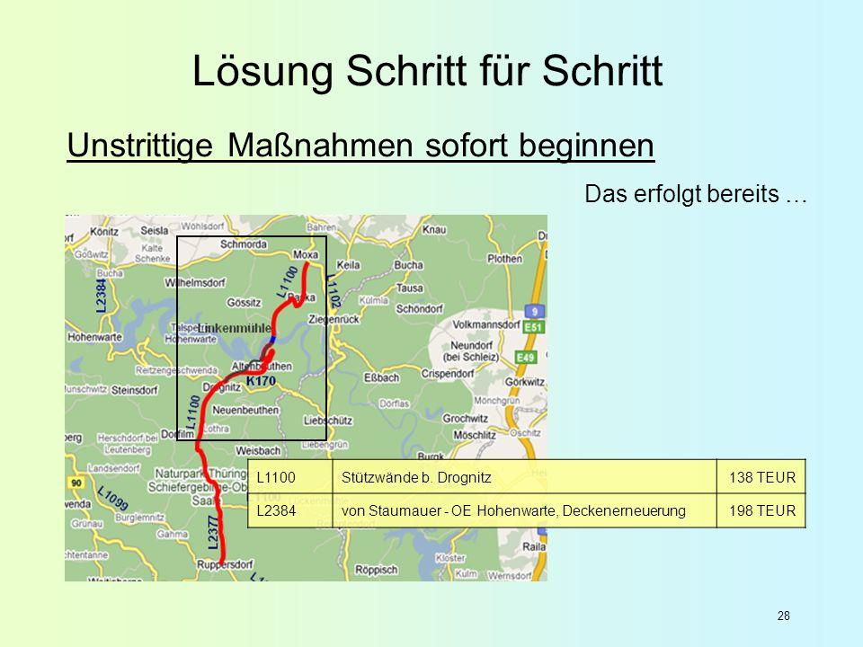 28 L1100Stützwände b. Drognitz138 TEUR L2384von Staumauer - OE Hohenwarte, Deckenerneuerung198 TEUR Unstrittige Maßnahmen sofort beginnen Das erfolgt