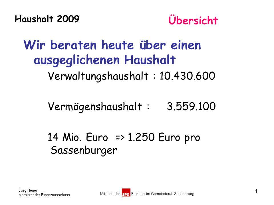 Jörg Heuer Vorsitzender Finanzausschuss Mitglied der Fraktion im Gemeinderat Sassenburg Haushalt 2009 1 Übersicht Wir beraten heute über einen ausgegl
