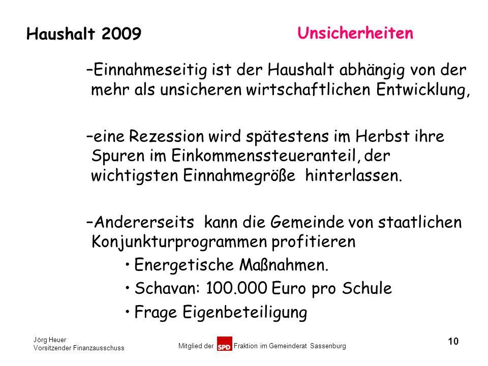 Jörg Heuer Vorsitzender Finanzausschuss Mitglied der Fraktion im Gemeinderat Sassenburg Haushalt 2009 Unsicherheiten –Einnahmeseitig ist der Haushalt