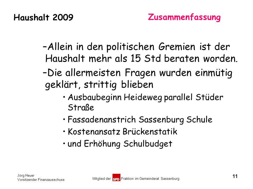 Jörg Heuer Vorsitzender Finanzausschuss Mitglied der Fraktion im Gemeinderat Sassenburg Haushalt 2009 Zusammenfassung –Allein in den politischen Gremi