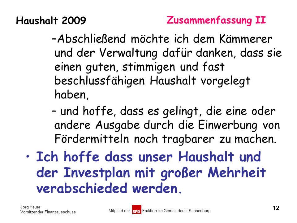 Jörg Heuer Vorsitzender Finanzausschuss Mitglied der Fraktion im Gemeinderat Sassenburg Haushalt 2009 Zusammenfassung II –Abschließend möchte ich dem