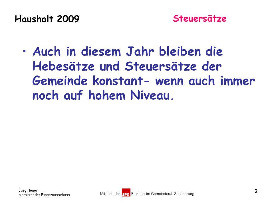Jörg Heuer Vorsitzender Finanzausschuss Mitglied der Fraktion im Gemeinderat Sassenburg Haushalt 2009 Steuersätze Auch in diesem Jahr bleiben die Hebe