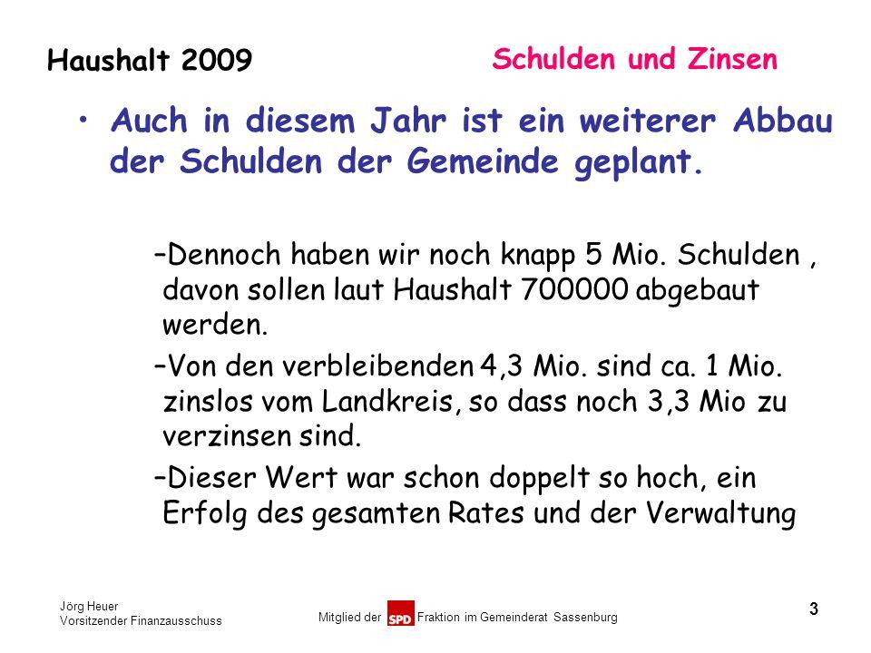 Jörg Heuer Vorsitzender Finanzausschuss Mitglied der Fraktion im Gemeinderat Sassenburg Haushalt 2009 Schulden und Zinsen Auch in diesem Jahr ist ein
