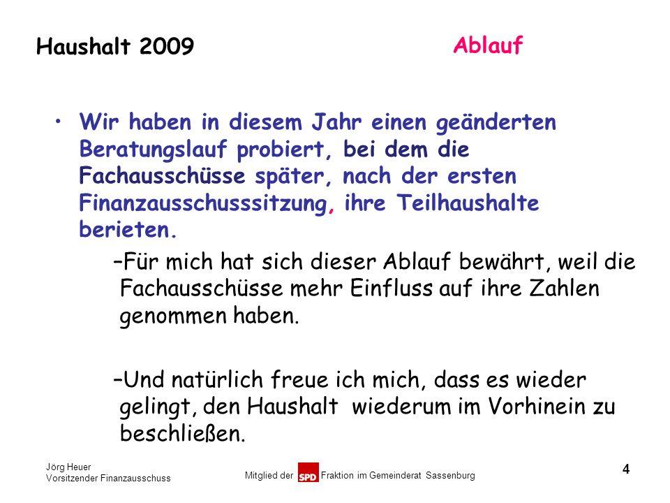 Jörg Heuer Vorsitzender Finanzausschuss Mitglied der Fraktion im Gemeinderat Sassenburg Haushalt 2009 Ablauf Wir haben in diesem Jahr einen geänderten