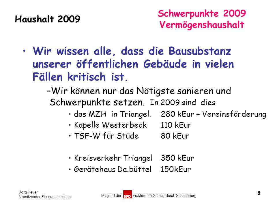 Jörg Heuer Vorsitzender Finanzausschuss Mitglied der Fraktion im Gemeinderat Sassenburg Haushalt 2009 Schwerpunkte 2009 Vermögenshaushalt Wir wissen a