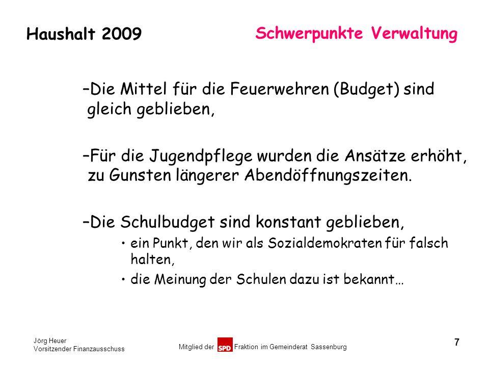 Jörg Heuer Vorsitzender Finanzausschuss Mitglied der Fraktion im Gemeinderat Sassenburg Haushalt 2009 Schwerpunkte Verwaltung –Die Mittel für die Feue