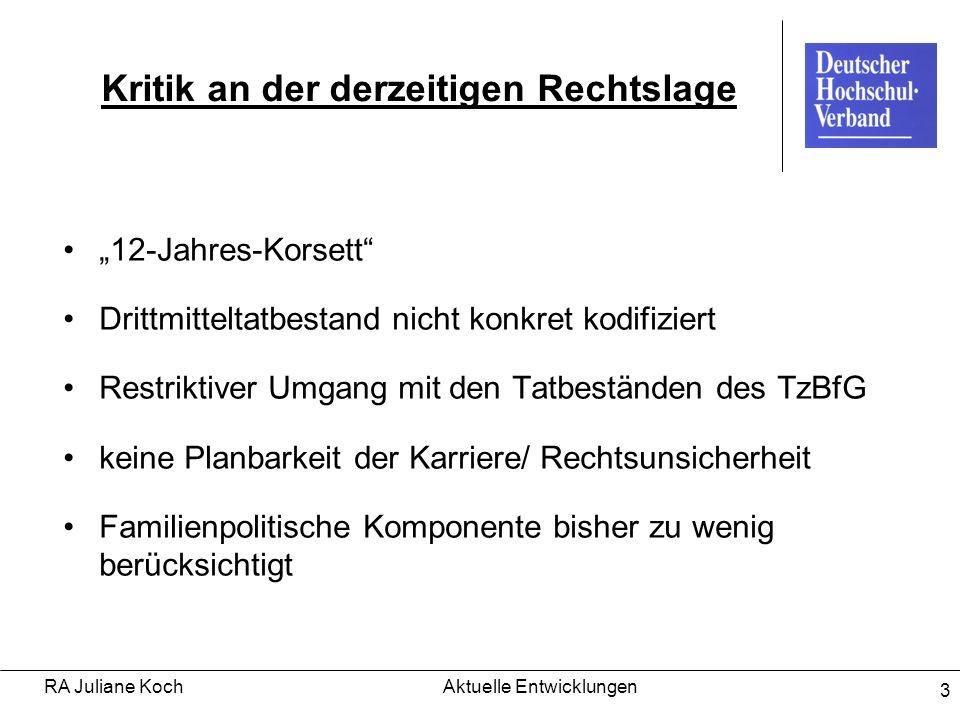 RA Juliane KochAktuelle Entwicklungen 3 Kritik an der derzeitigen Rechtslage 12-Jahres-Korsett Drittmitteltatbestand nicht konkret kodifiziert Restrik