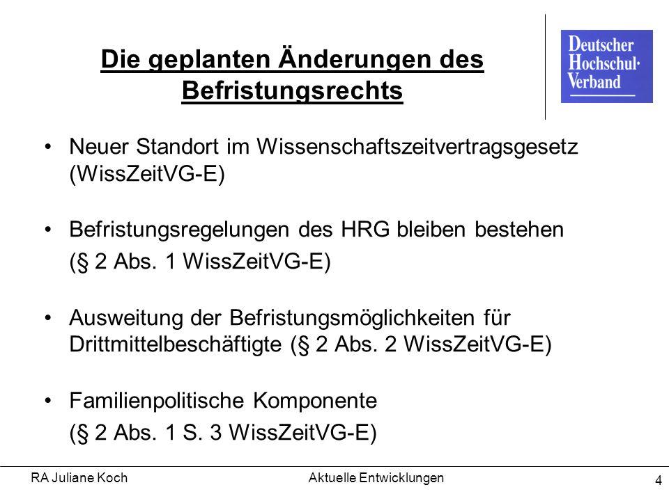 RA Juliane KochAktuelle Entwicklungen 4 Die geplanten Änderungen des Befristungsrechts Neuer Standort im Wissenschaftszeitvertragsgesetz (WissZeitVG-E