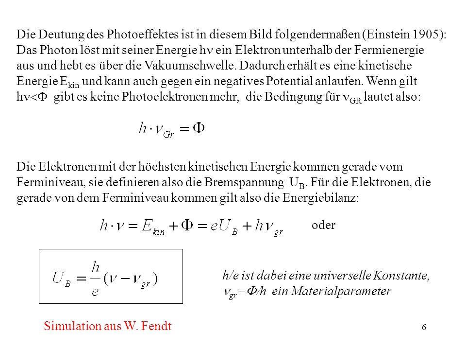 7 Cu4.48 Cs1.94 AgO(Cs)1.01 Beispiele für Austrittsarbeit: eV Wie die meisten quantenmechanischen Effekte kann man den Photoeffekt auch umkehren (inverser Photoeffekt) d.h.