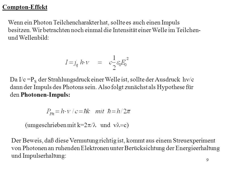 10 y x h h E kin (Elektron) Energieerhaltung: Impulserhaltung: x-Richtung: y-Richtung:
