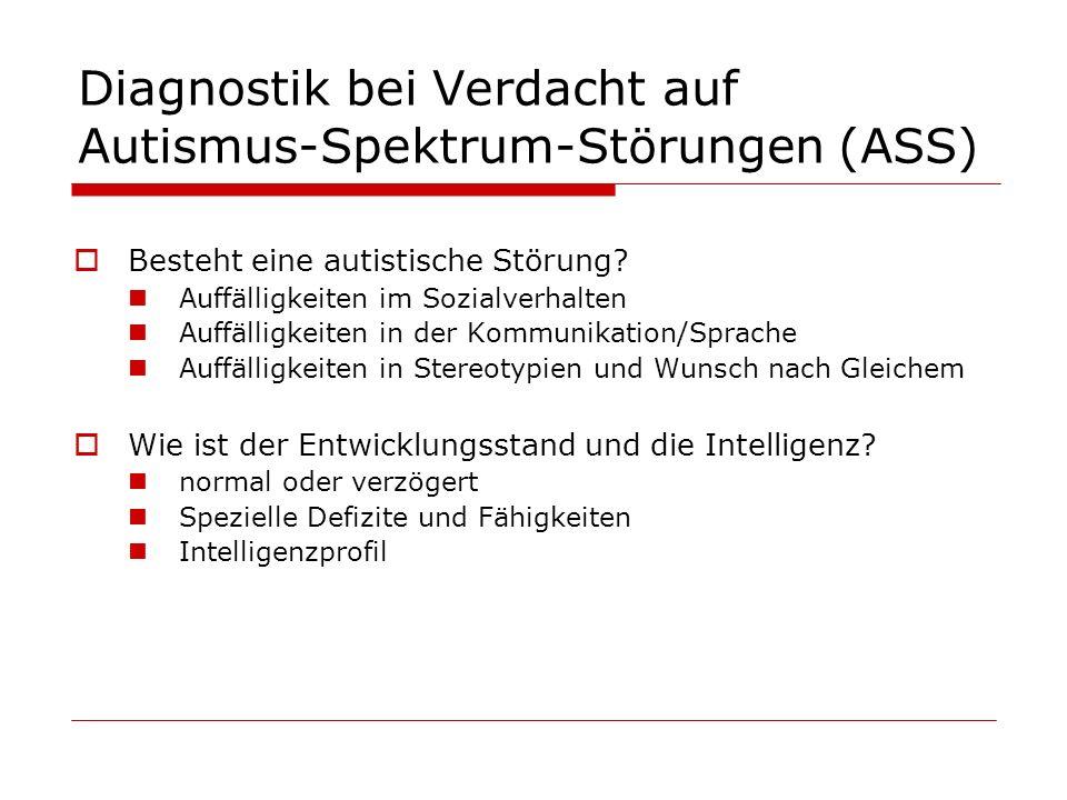Diagnostik bei Verdacht auf Autismus-Spektrum-Störungen (ASS) Besteht eine autistische Störung? Auffälligkeiten im Sozialverhalten Auffälligkeiten in