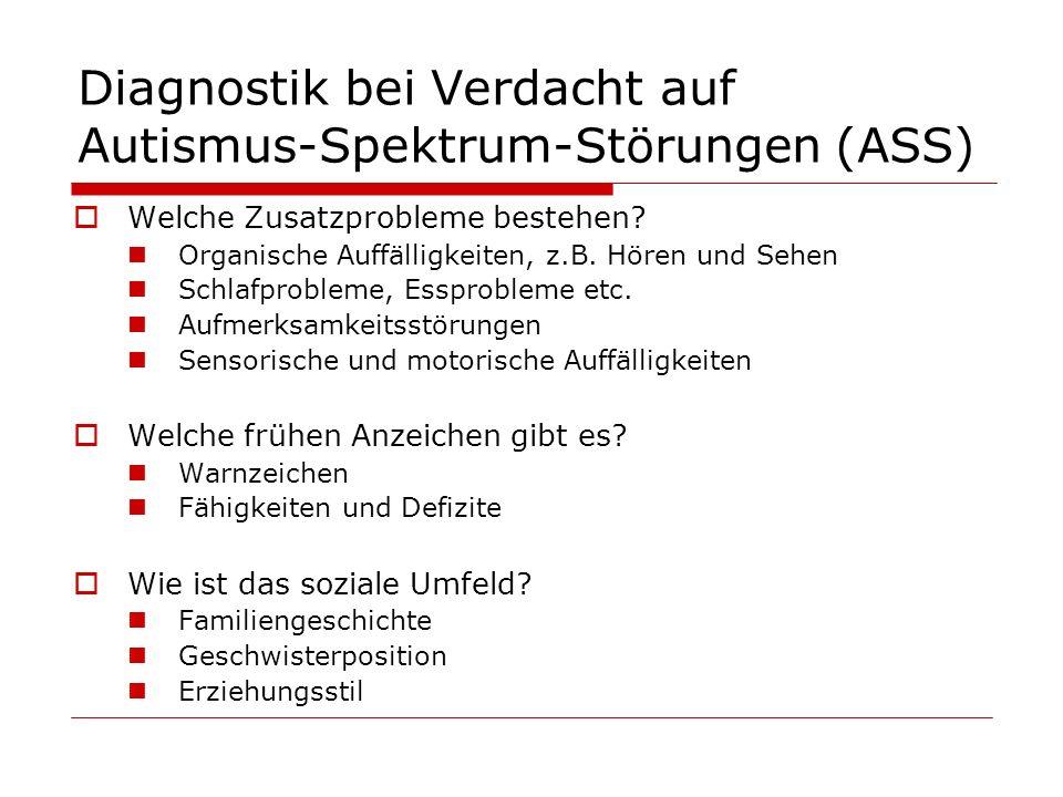 Diagnostik bei Verdacht auf Autismus-Spektrum-Störungen (ASS) Welche Zusatzprobleme bestehen? Organische Auffälligkeiten, z.B. Hören und Sehen Schlafp