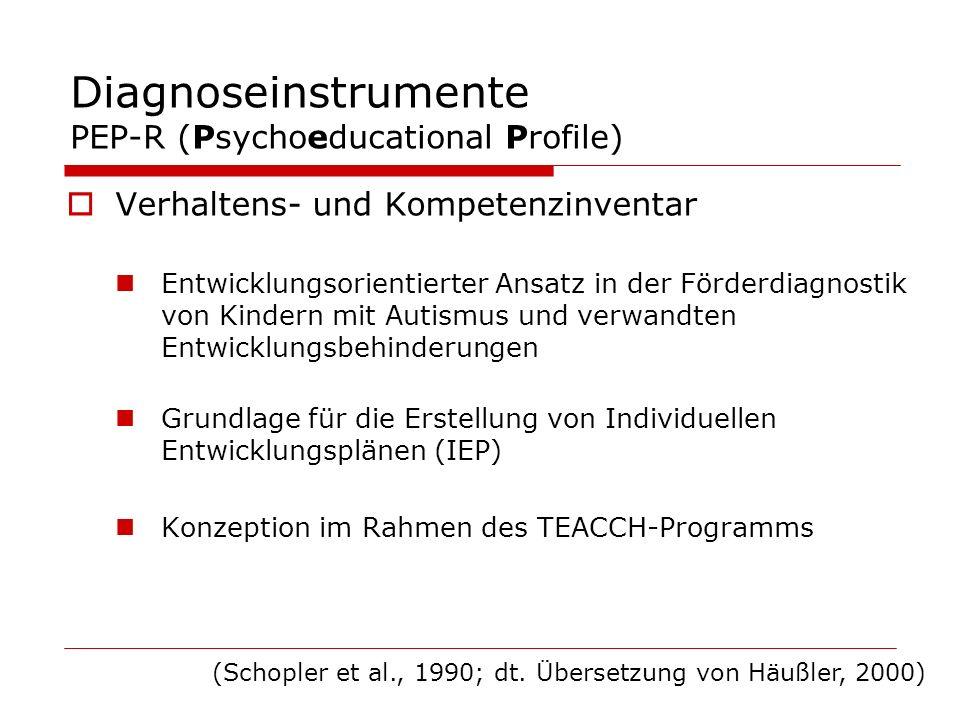 Diagnoseinstrumente PEP-R (Psychoeducational Profile) Verhaltens- und Kompetenzinventar Entwicklungsorientierter Ansatz in der Förderdiagnostik von Ki