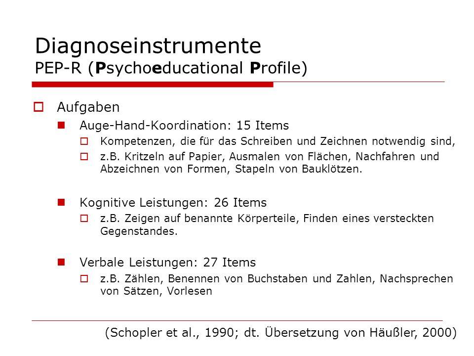Diagnoseinstrumente PEP-R (Psychoeducational Profile) Aufgaben Auge-Hand-Koordination: 15 Items Kompetenzen, die für das Schreiben und Zeichnen notwen