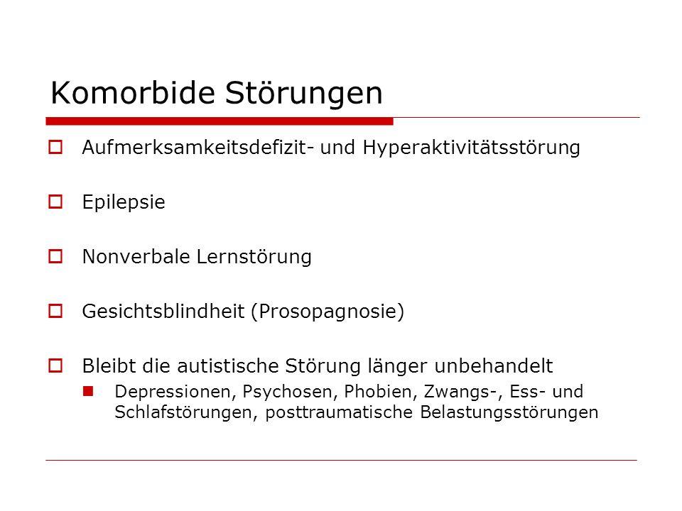 Komorbide Störungen Aufmerksamkeitsdefizit- und Hyperaktivitätsstörung Epilepsie Nonverbale Lernstörung Gesichtsblindheit (Prosopagnosie) Bleibt die a
