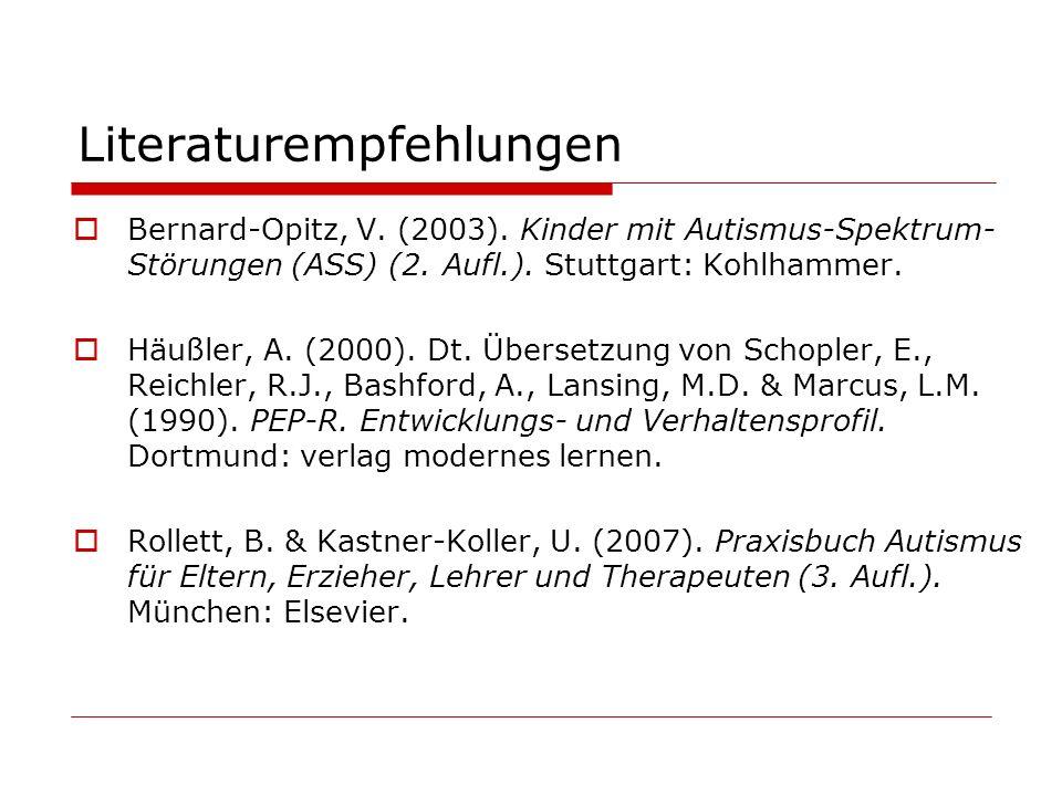Literaturempfehlungen Bernard-Opitz, V. (2003). Kinder mit Autismus-Spektrum- Störungen (ASS) (2. Aufl.). Stuttgart: Kohlhammer. Häußler, A. (2000). D