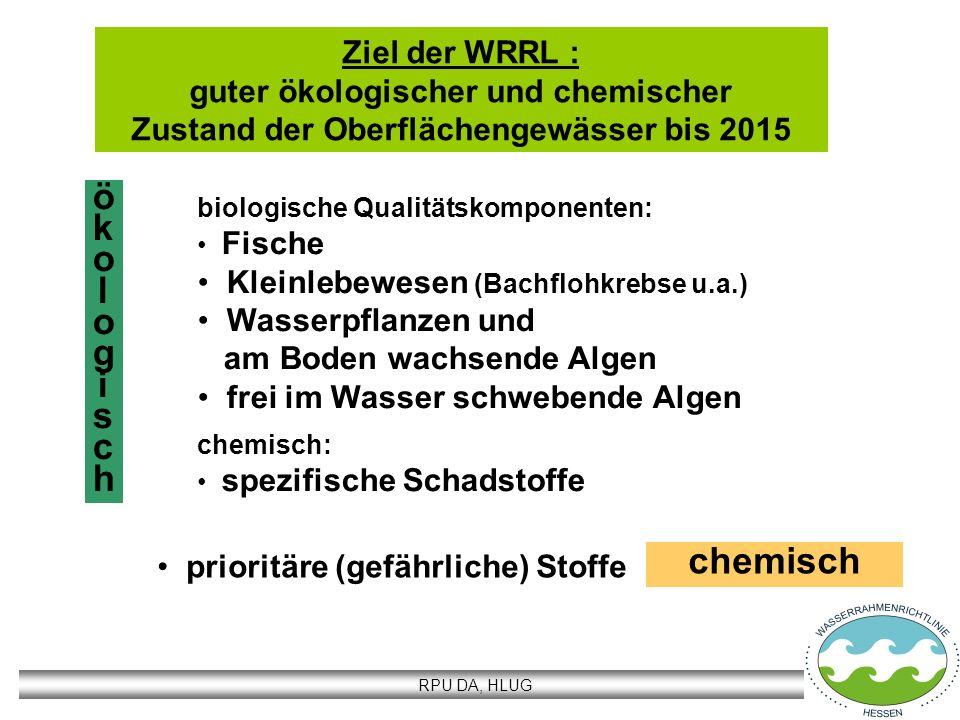 RPU DA, HLUG Wasserkörper Oberflächengewässer Fließgewässer (FG) mit einem Einzugsgebiet > 10 km² Stehgewässer (SG) > 50 ha Aufteilung in typenhomogene Wasserkörper (WK) Abgrenzung bei einem Wechsel des Gewässertyps Bezugseinheit für die Umsetzung der WRRL: Oberrhein (HE): 46 FG-Wasserkörper je ~17,0 km Länge 2 SG-Wasserkörper Neckar (HE): 8 FG-Wasserkörper je ~17,1 km Länge