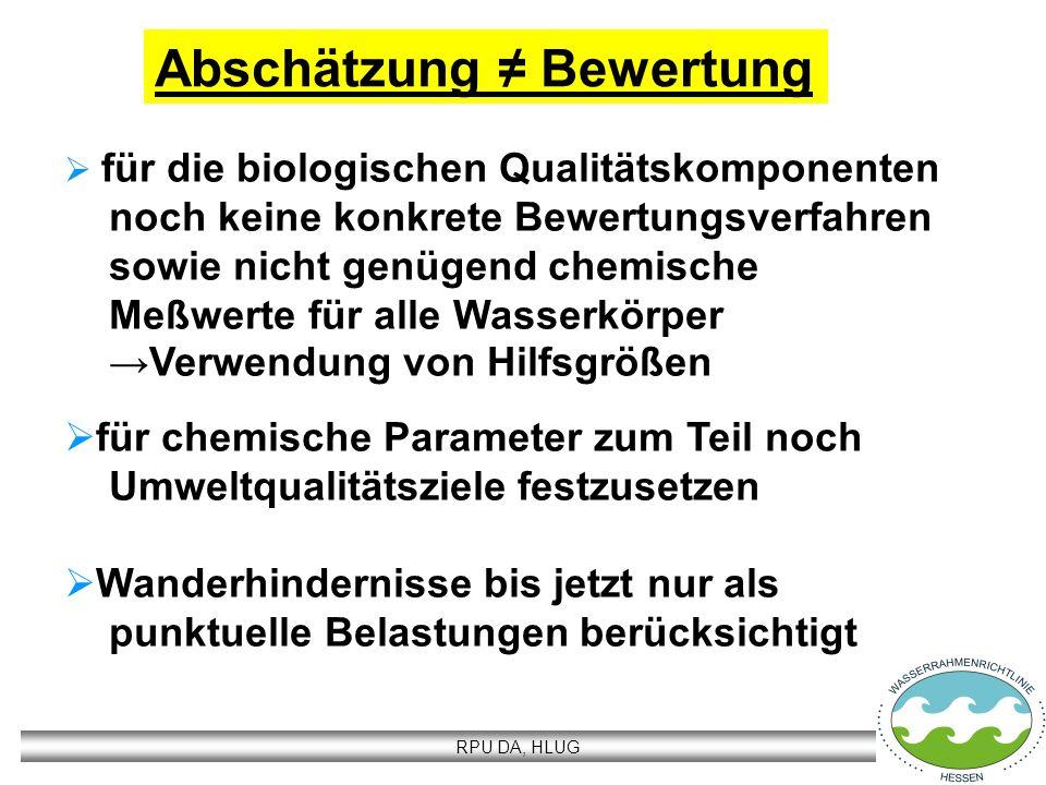 RPU DA, HLUG Abschätzung Bewertung für die biologischen Qualitätskomponenten noch keine konkrete Bewertungsverfahren sowie nicht genügend chemische Me