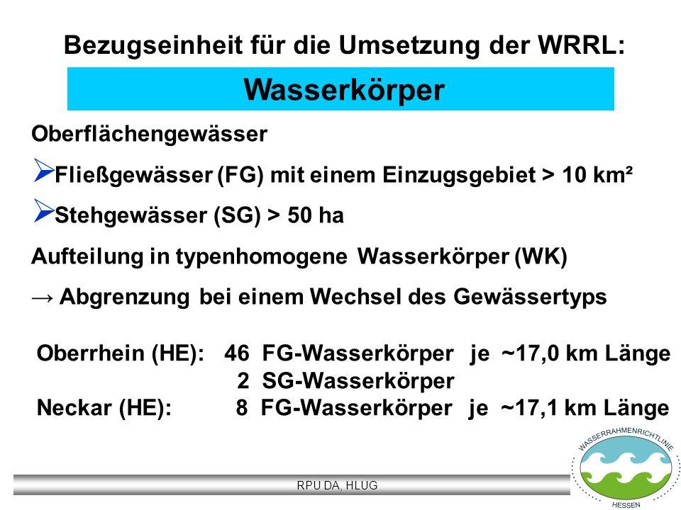 RPU DA, HLUG Wasserkörper Oberflächengewässer Fließgewässer (FG) mit einem Einzugsgebiet > 10 km² Stehgewässer (SG) > 50 ha Aufteilung in typenhomogen