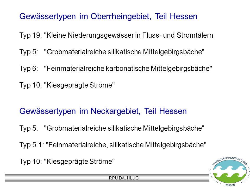 RPU DA, HLUG Gewässertypen im Oberrheingebiet, Teil Hessen Typ 19: