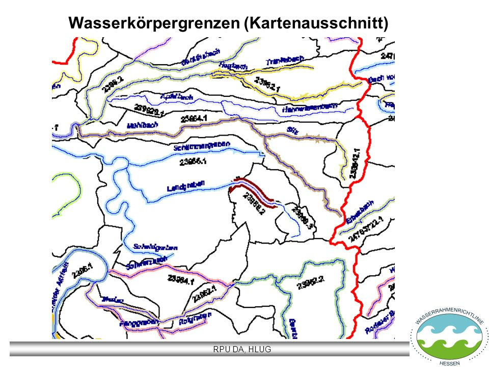 RPU DA, HLUG Wasserkörpergrenzen (Kartenausschnitt)