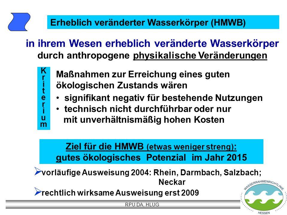 RPU DA, HLUG Erheblich veränderter Wasserkörper (HMWB) vorläufige Ausweisung 2004: Rhein, Darmbach, Salzbach; Neckar rechtlich wirksame Ausweisung ers