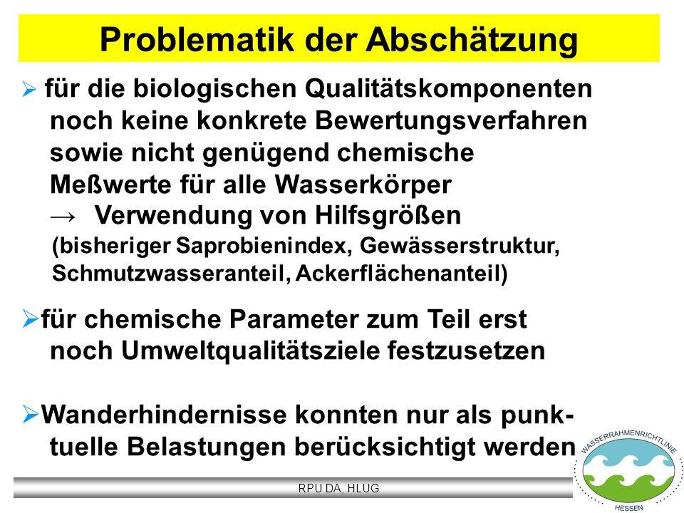 RPU DA, HLUG Abschätzung Ökologie Biologie Gewässergüte, Gewässerstruktur, chemisch-physikalische Parameter Chemie spezifische Schadstoffe Abschätzung Chemie prioritäre Stoffe (33 Stoffe gem.