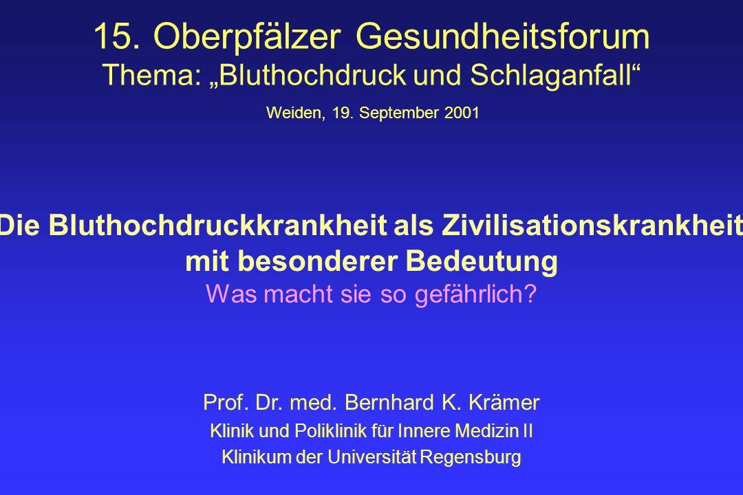 Prof. Dr. med. Bernhard K. Krämer Klinik und Poliklinik für Innere Medizin II Klinikum der Universität Regensburg Weiden, 19. September 2001 Die Bluth