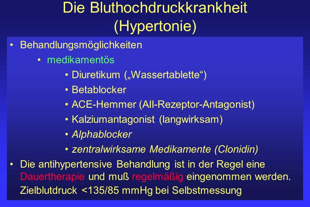 Die Bluthochdruckkrankheit (Hypertonie) Behandlungsmöglichkeiten medikamentös Diuretikum (Wassertablette) Betablocker ACE-Hemmer (AII-Rezeptor-Antagon