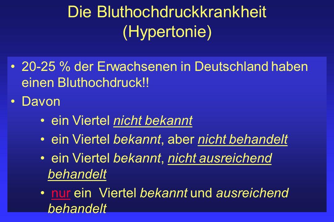 Die Bluthochdruckkrankheit (Hypertonie) 20-25 % der Erwachsenen in Deutschland haben einen Bluthochdruck!! Davon ein Viertel nicht bekannt ein Viertel