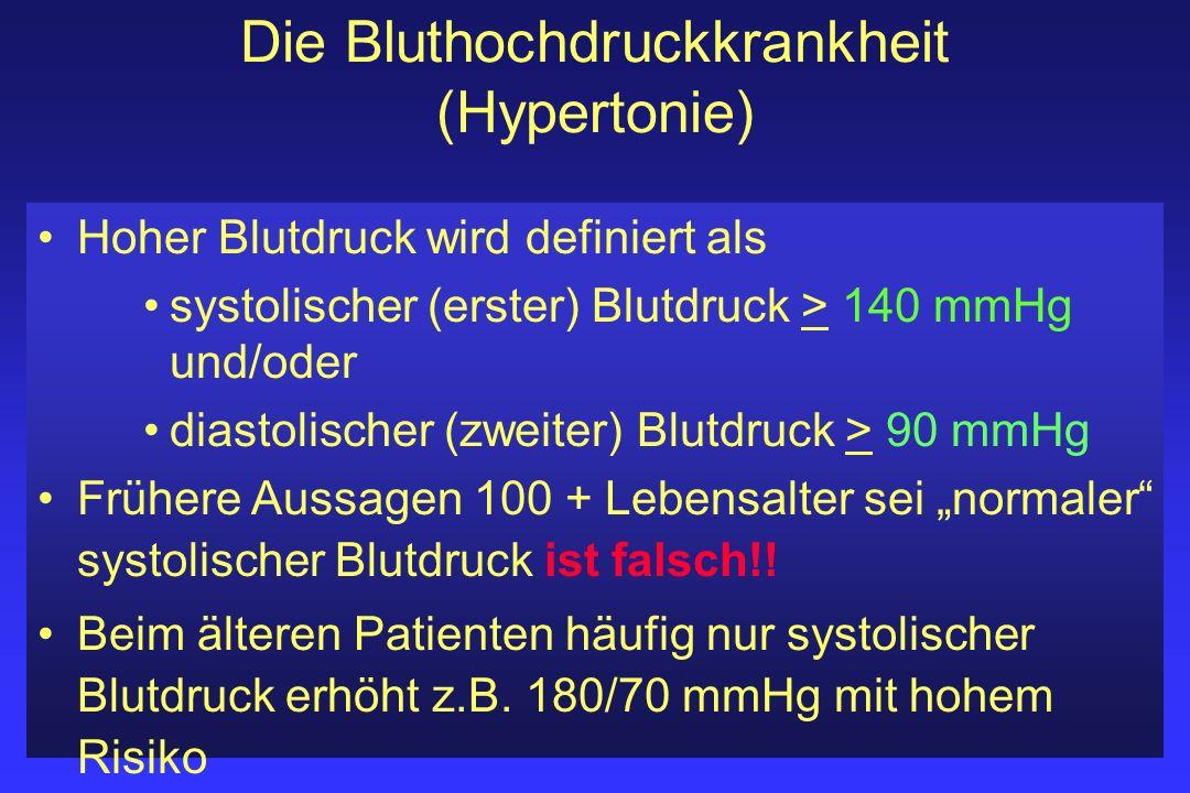 Die Bluthochdruckkrankheit (Hypertonie) Hoher Blutdruck wird definiert als systolischer (erster) Blutdruck > 140 mmHg und/oder diastolischer (zweiter)
